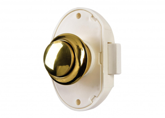"""White plastic pressure latchwith button and sleeve made out of polished or chromed brass. Suitable for door thicknesses from 15 to 16 mm. Bore diameter: 26 mm."""""""