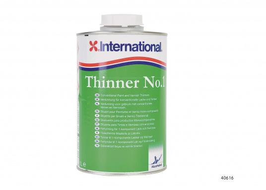"""Il diluente N.1 é un diluente universale, pulisce le attrezzature utilizzate con le vernici e rivestimenti monocomponenti (tranne BRIGTHSIDE e Primocon). Contenuto: 1000 ml."""""""