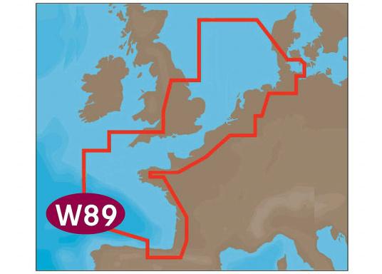 """Neue Fahrtgebiete WIDE! Noch größer! Noch praktikabler!&nbsp&#x3B;Mit Wetter-Vorschau Karten-Overlay,&nbsp&#x3B; Satelliten Karten-Overlay, und den besten Seekartenmodulen.&nbsp&#x3B;W89 &ndash&#x3B;&nbsp&#x3B;North-West European Coasts."""""""