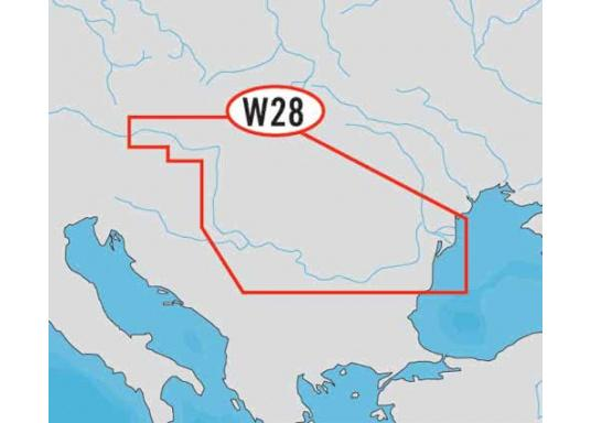"""Wide: WD28, River Danube. The chart provides automatic route calculation, 3D display and 3D overlay of nautical paper charts for a better view with more information."""""""
