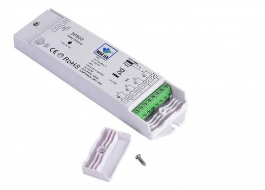 This electronic dimmer can be connected to a push button and is suitable for all LED lamps (MR11, MR16, G4). Input voltage: 12-36 V DC. Output voltage: 0-24 V DC. 240 watts (4 x 60 watts), 20 A max. (Afbeelding 2 of 3)
