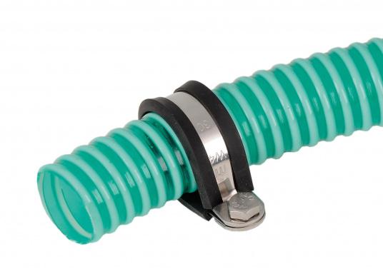 <div> Halteschellen aus Edelstahl (AISI 304) mit Gummieinlage, erhältlich für verschiedene Rohr-Ø.</div> (Bild 3 of 3)