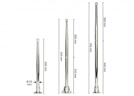 <div>Erstklassige Qualität undeleganter Form.Relingstützen aus rostfreiem Edelstahl,hochglanzpoliert(V4A). Konisch zulaufend. Geeignet für Rohr-Ø: 25 mm. Erhältlich in drei Ausführungen.</div>  (Bild 2 of 2)
