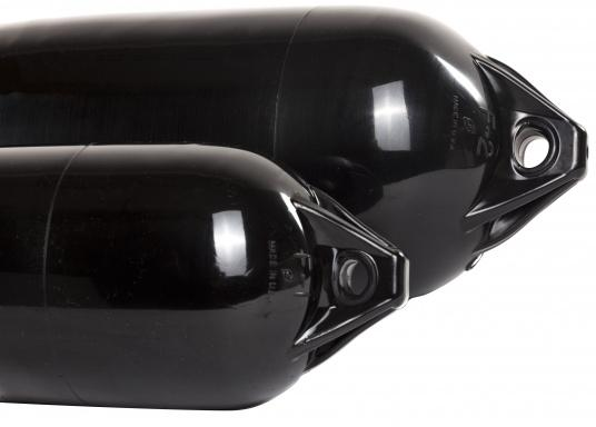 Cylindrical 2-eyed long fenders in black for heavy-duty use. Both sides have reinforced eyes,. which allow the unit to be used horizontally or vertically. Applications: Pleasure craft and commercial shipping. (Image 5 of 6)