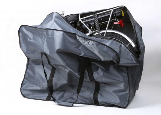 <div>Robuste Packtasche, perfekt geeignet für dasSEATEC - Elektro-Klapprad. Mit großem Reißverschluss und praktischen Tragegriffen.</div>  (Bild 2 of 2)