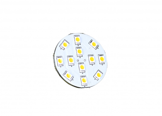 The round LED replacement bulb with 12LEDsoffers a pleasant warm white light. 2 W, for 9 to 30 V DC, 12 V AC. Back terminals. Diameter: 30 mm. (Afbeelding 2 of 3)