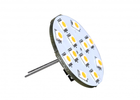 """The round LED replacement bulb with 12&nbsp&#x3B;LEDs&nbsp&#x3B;offers a pleasant warm white light. 2 W, for 9 to 30 V DC, 12 V AC. Back terminals. Diameter: 30 mm."""""""