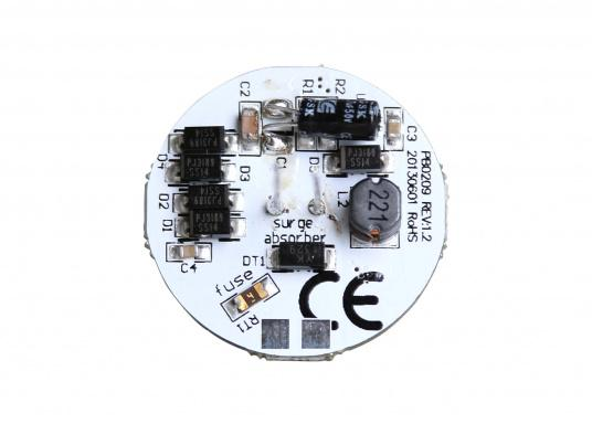 The round LED replacement bulb with 12LEDsoffers a pleasant warm white light. 2 W, for 9 to 30 V DC, 12 V AC. Back terminals. Diameter: 30 mm. (Afbeelding 3 of 3)