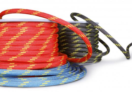<div> High performance rope for sheets and halyards. Exclusively sold at SVB! Double braid construction with Dyneema® core and polyester cover. Top breaking load and minimal elongation.</div> (Imagen 3 of 5)