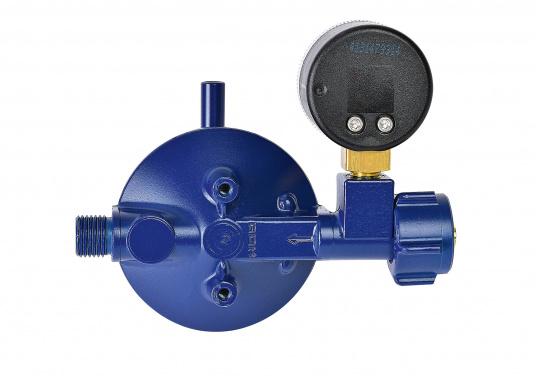 <div>Le détendeur Marine est adapté pour le raccordement des bouteilles de gaz jusqu'à 14 kg. Débit: 0,8 kg / h. Livré avec manomètre.</div>  (Image 4 de 4)