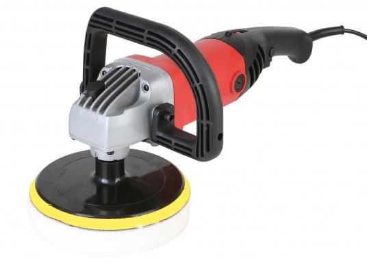 Die SVB Profi-Poliermaschine ist speziell zum polieren von lackierten Flächen und GFK Rümpfen geeignet. Die 1200 Watt starke Winkelmaschine ist sowohl für Links- als auch Rechtshänder geeignet und verfügt über eine Drehzahlvorwahl und einen sogenannten Sanftanlauf.  (Bild 4 von 8)