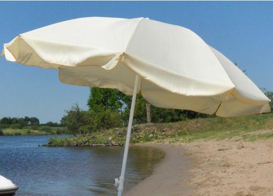 Sonnenschirm mit pulverbeschichtetem, weißem Stahl-Gestell. Der Stock hat einen Durchmesser von 22 mm, einen Metallknicker und einen Drehfeststeller. Der Schirmduchmesser beträgt ca. 200 cm.  (Bild 3 von 3)