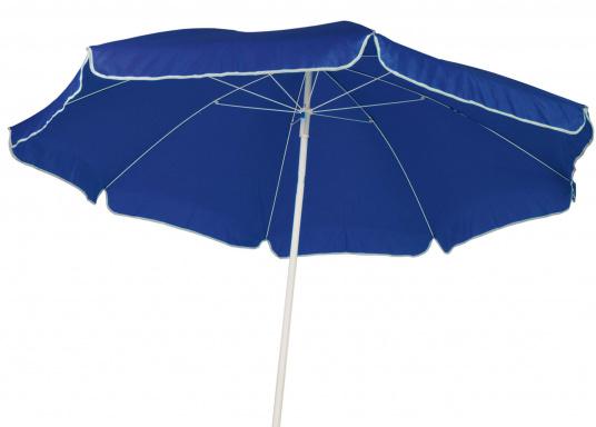 """Sonnenschirm mit pulverbeschichtetem, weißem Stahl-Gestell. Der Stock hat einen Durchmesser von 22 mm, einen Metallknicker und einen Drehfeststeller."""""""