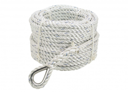 """3-strand stretch and twist free anchor line with a spliced thimble. 30 m long."""""""