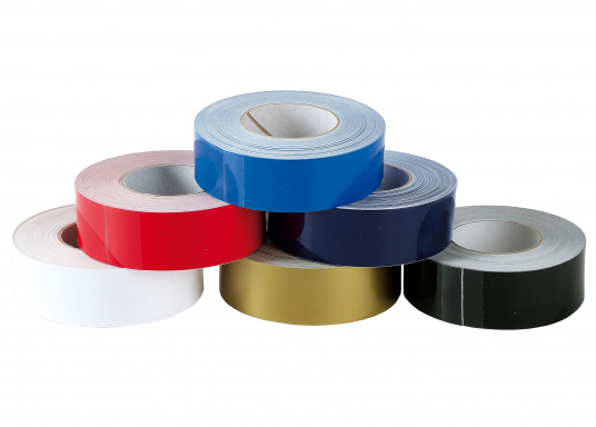 """Monochrome, adhesive decorative strips with a width of 25 mm. Roll length: 15 m. Also suitable for the waterline."""""""