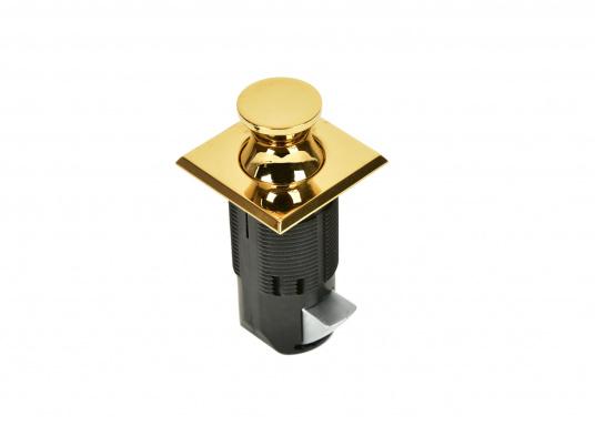 "Brass press snapper. Square shape. Flush design."""