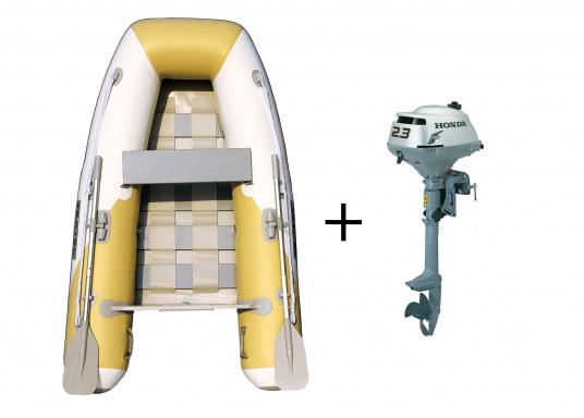 """Das Set besteht aus dem SEATEC Schlauchboot YACHTING 225und dem Außenbordmotor Honda BF 2,3."""""""