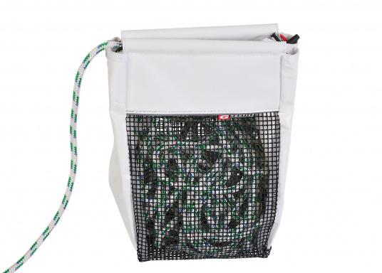 Hochformat Stautasche aus PVC und PU-Netz für Fallen und Schoten. Für eine einfache Handhabung wurde die Öffnung verstärkt. Wird mit Schrauben oder Klettband befestigt. (Bild 3 von 4)