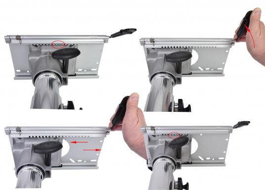 Hergestellt aus Alu. Mittels Einhand-Bedienung ist der Stuhl- / Tischfuß drehbar und höhenverstellbar von 330 - 460 mm. (Bild 3 von 4)