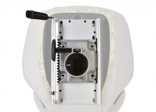 Hergestellt aus Alu. Mittels Einhand-Bedienung ist der Stuhl- / Tischfuß drehbar und höhenverstellbar von 330 - 460 mm. (Bild 2 von 4)