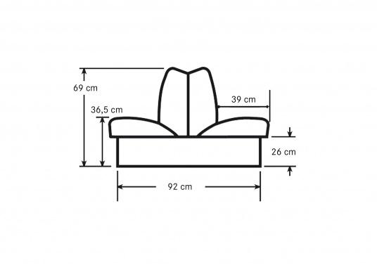 Back-To-Back Sitzbank mit Kunstlederbezug für zwei Personen mit Kunststoff-Aufbaurahmen. Die Sitzfläche lässt sich zu einer Liegefläche mit einer Länge von 166 cm ausklappen. (Bild 5 of 13)