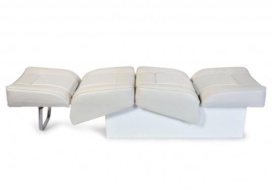 Back-To-Back Sitzbank mit Kunstlederbezug für zwei Personen mit Kunststoff-Aufbaurahmen. Die Sitzfläche lässt sich zu einer Liegefläche mit einer Länge von 166 cm ausklappen. (Bild 2 of 13)