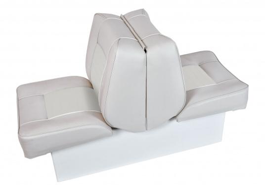 """Back-To-Back Sitzbank mit Kunstlederbezug für zwei Personen mit Kunststoff-Aufbaurahmen. Die Sitzfläche lässt sich zu einer Liegefläche mit einer Länge von 166 cm ausklappen."""""""