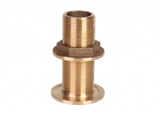 Hochwertige Borddurchführungen, gefertigt aus der seewasserbeständigen Bronzelegierung<strong>CB491K</strong>(Rotguss). Durch den hohen Kupfergehalt in der Legierung sind Ventile und Fittinge aus Bronze ideal für den dauerhaften Einsatz im Unterwasserbereich geeignet. (Bild 2 of 2)