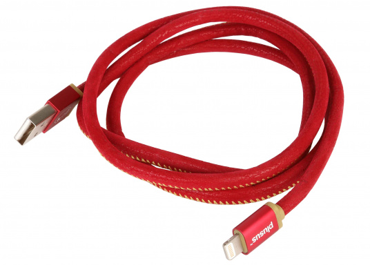 High-end USB cable with PU-leather coating. Equipped with either a microUSB or Lightning connection for Apple devices. Cable length: 1 m. Colour: red.""