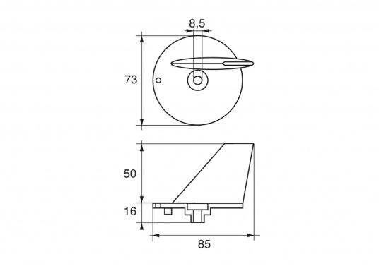 Passende Motor-Zinkanode für SELVA-Motoren mit 40 PS in Form einer Finne. (Bild 2 of 2)