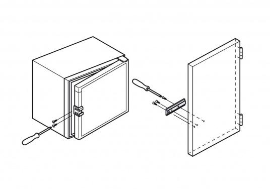 Original Schleppscharnier für Ihre BAVARIA Yacht, hergestellt aus Kunststoff. Farbe: schwarz / weiß. Zum Einbau von Kühlschränken hinter Möbeltüren, sodass beim Öffnen der Möbeltür die Kühlschranktür automatisch mit geöffnet wird. (Bild 5 von 6)