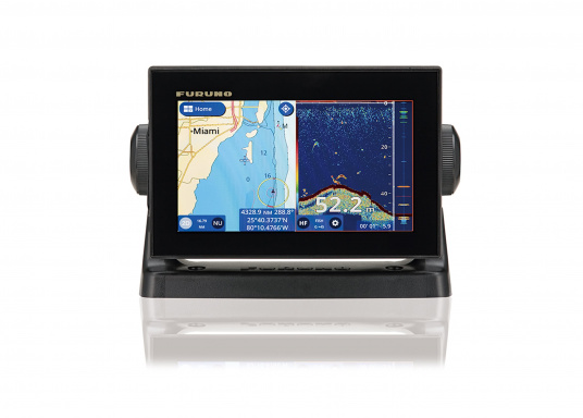 """The Furuno GP-1871F has a comfortable 7"""" multi-touch display, NMEA2000, NMEA0183 and WLAN interfaces and offers the possibility to connect a fishfinder / echosounder."""""""