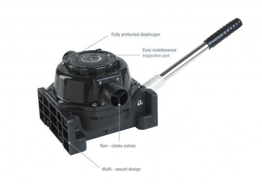 Powerfulpump. Housing made out of high-quality, seawater, oil and sewage resistant plastic. Membrane and valves made out of oil resistant nitrile. Excellent for pumping waste waterandsewage tanks.  (Image 2 of 3)